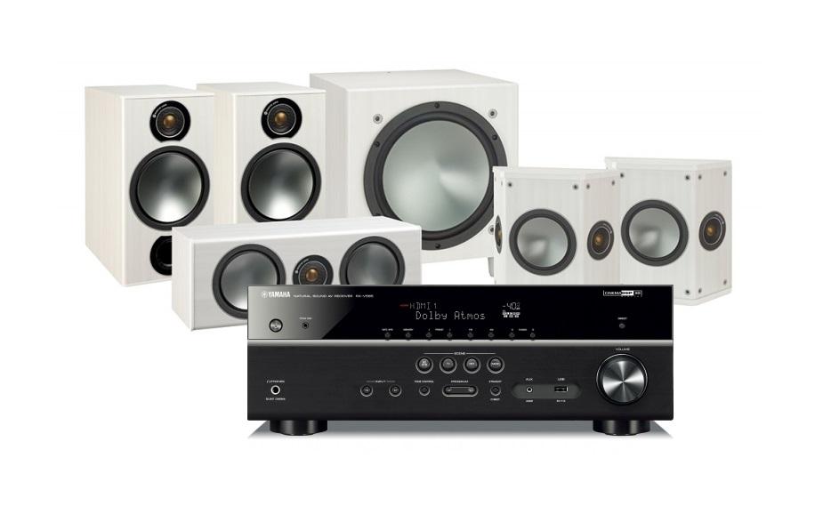 Yamaha RX-V585   Monitor Audio Bronze 2 högtalarpaket 5.1 vitt i gruppen  Paket   b24416b4d77fb