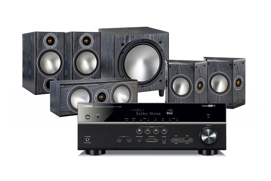 Yamaha RX-V585   Monitor Audio Bronze 2 högtalarpaket 5.1 svart i gruppen  Paket   3da2ec59442b1